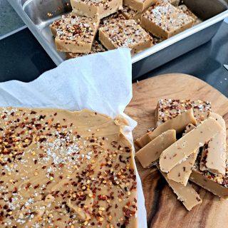 Fresh Salted chilli caramel fudge getting  cut and packaged today... you know you've got to try it!  #thechillichickshop #thetweed #lovethetweed #fudge #theoriginalchillifudge! #kingscliffmarket #saltvillagemarket #tweedfarmersmarket